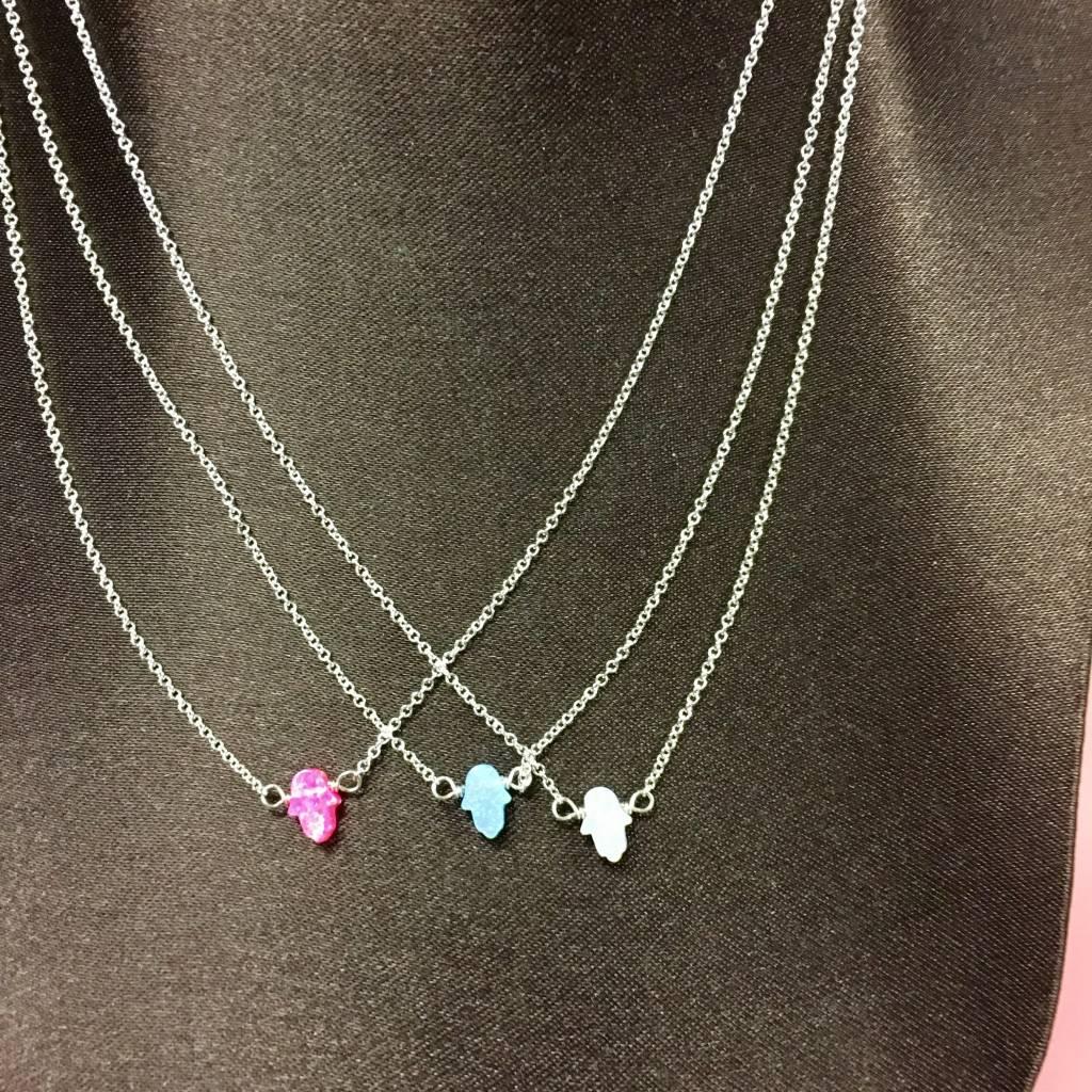 Small Opal Hamsa Necklace