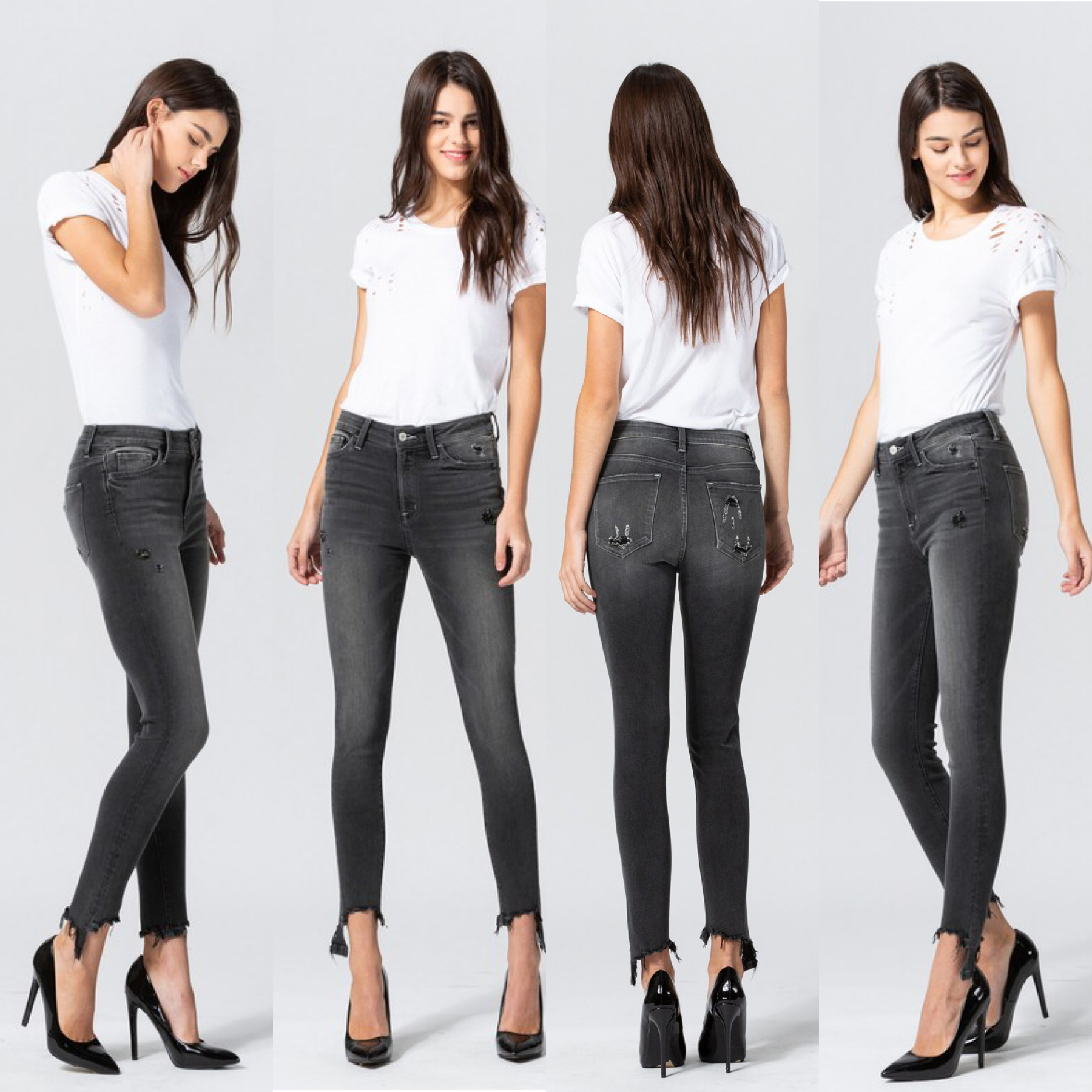 High Rise Distressed Step Hem Jeans