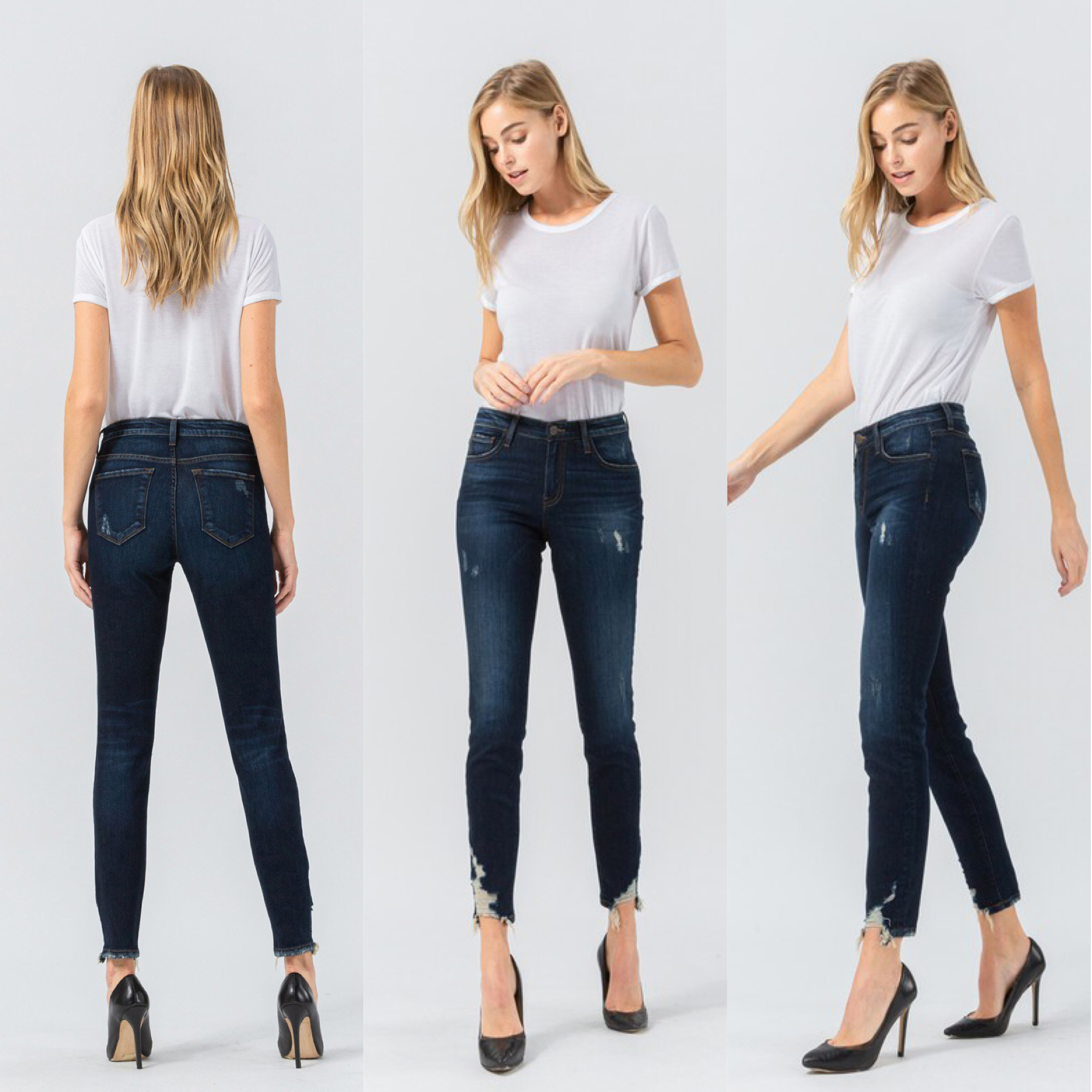 Mid Rise Distressed Hem Ankle Jeans