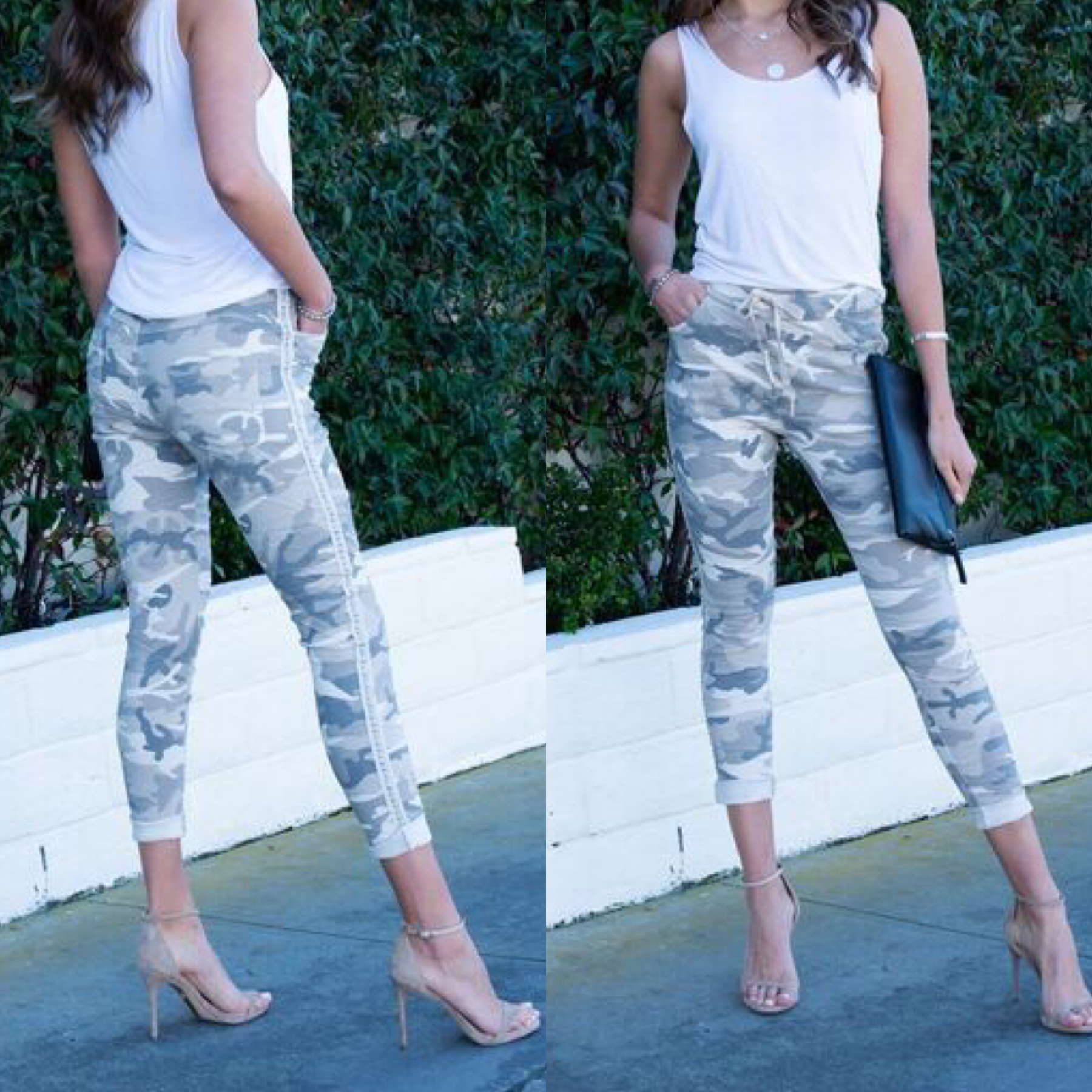Camouflage Jogger With Stud Side Stripe