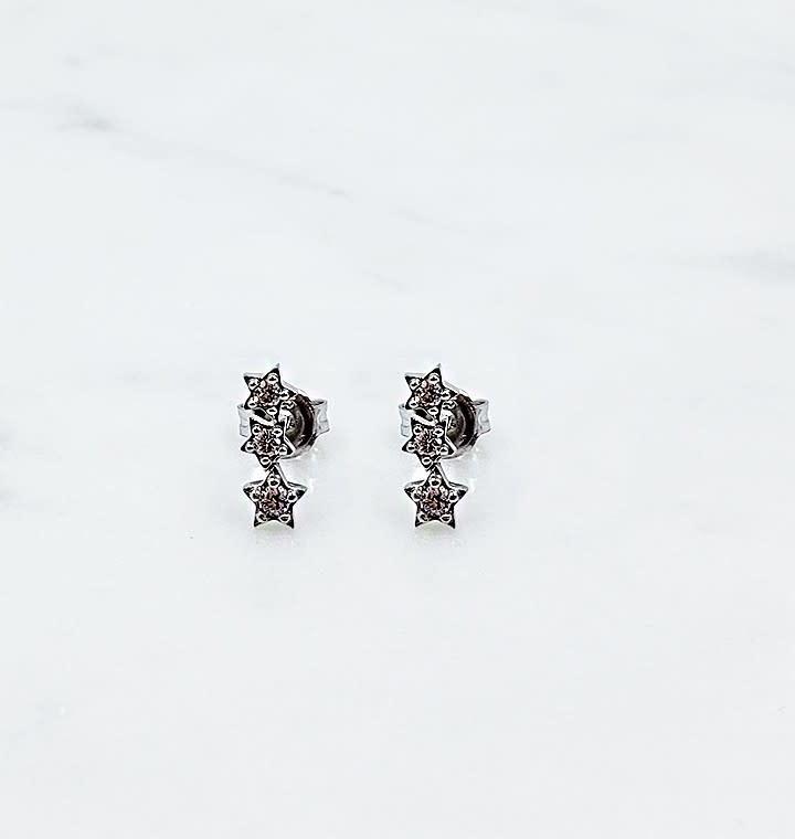 Sterling Silver Cubic Zirconia Triple Star Earrings