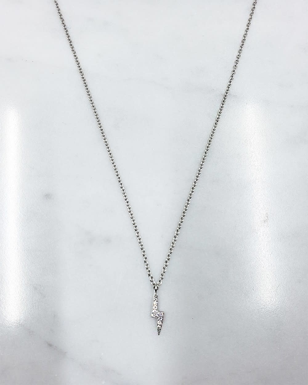 Sterling Silver Cubic Zirconia Lightning Bolt Necklace