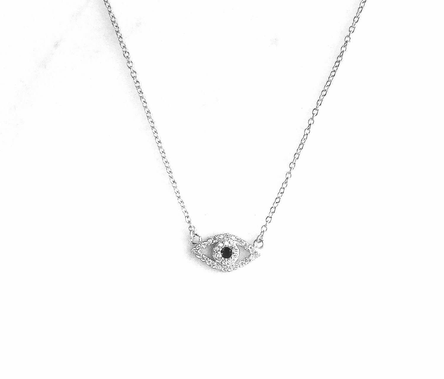 Sterling Silver Cubic Zorconia Evil Eye With Dark Center