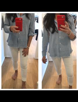 Linen Frayed Hem Shirt