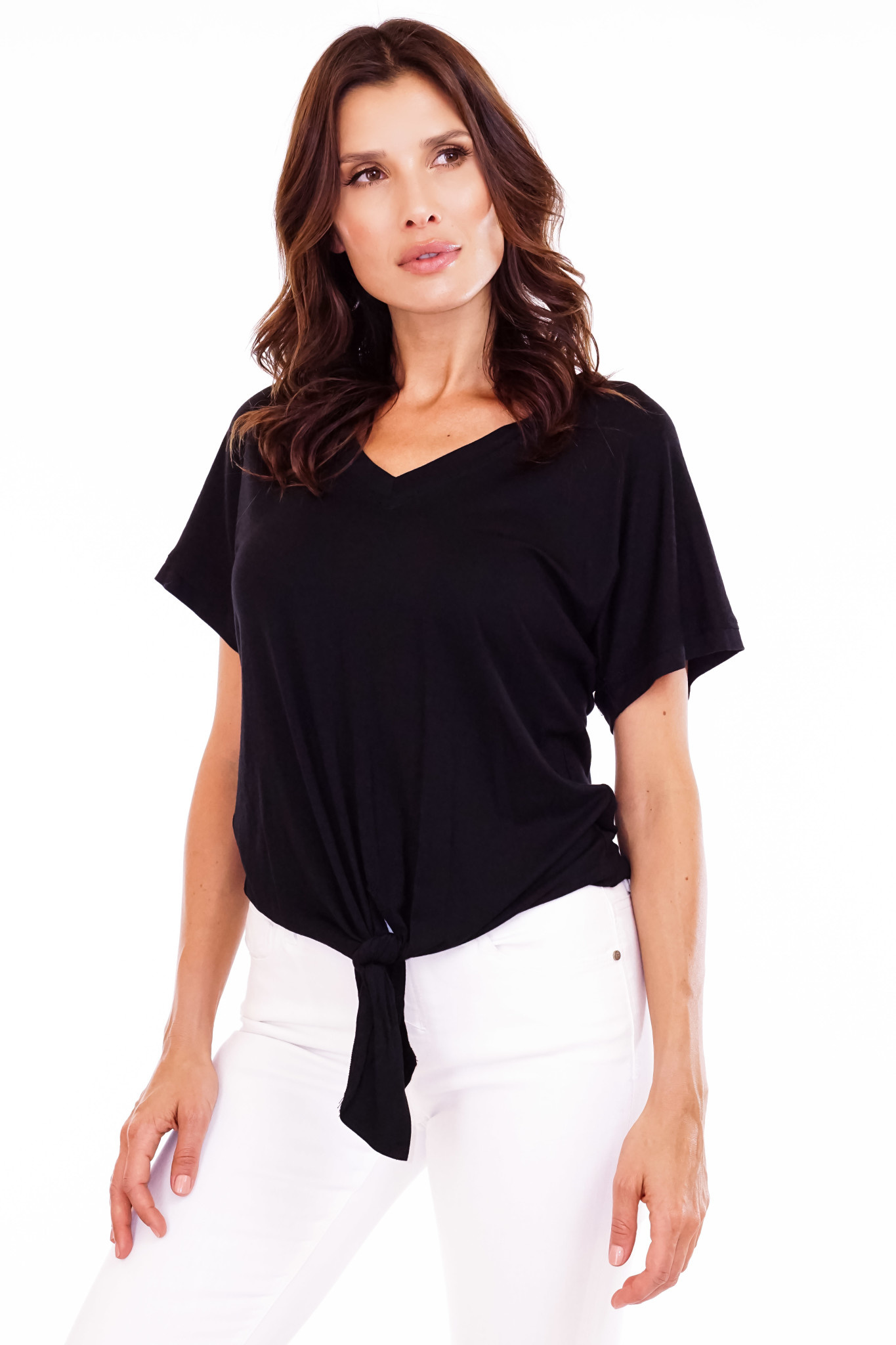 V Neck Tee with Tie Front