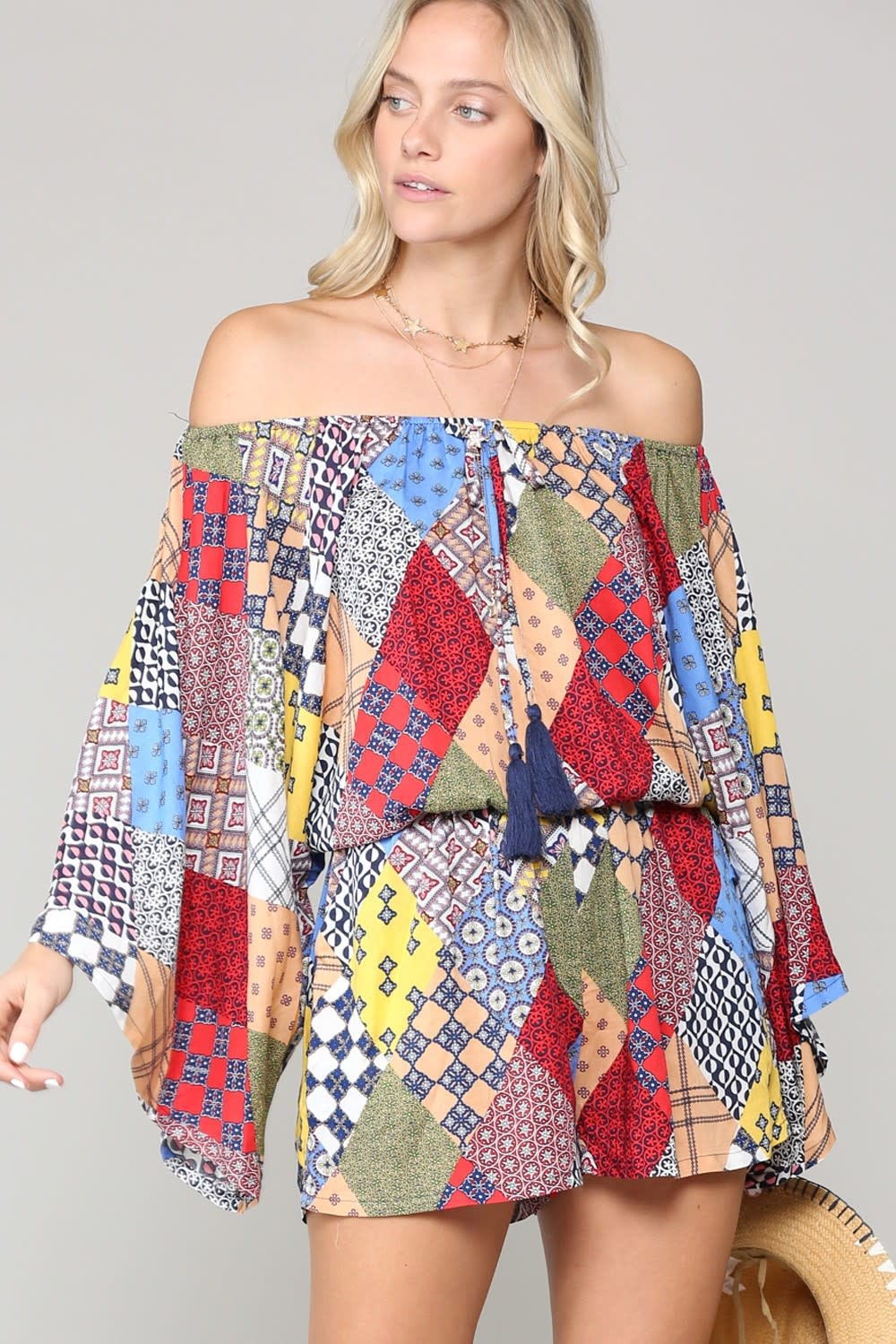 Off Shoulder Patchwork Romper