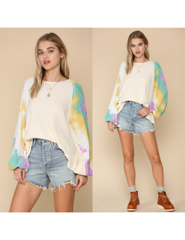 French Terry Top w/ Tie Dye Sleeves