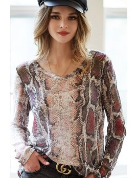 Snakeskin Print U Neck Top
