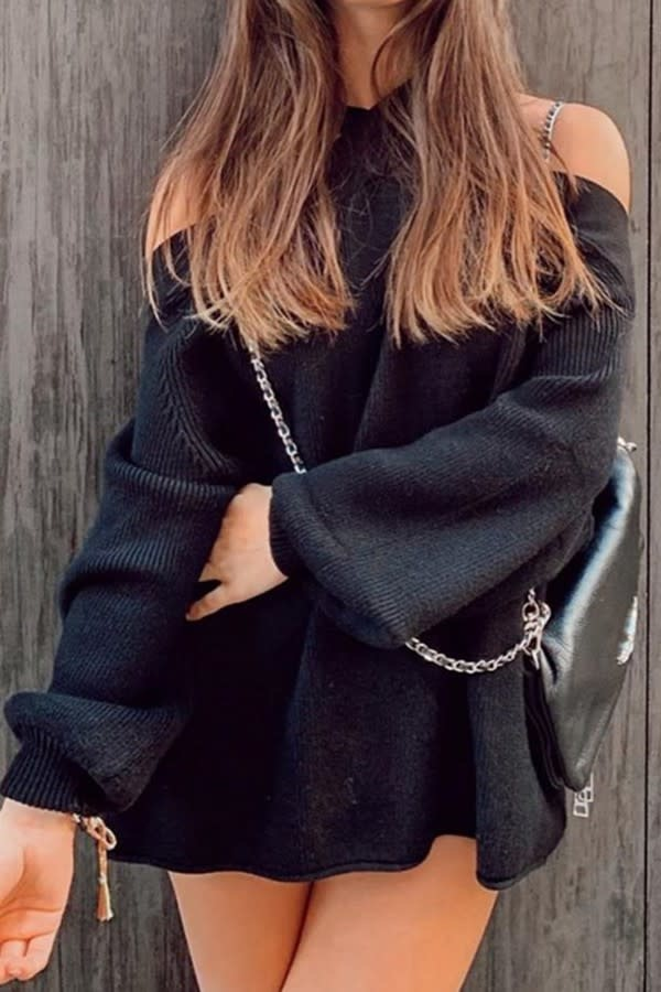 Knit Sweater with Crisscross Neckline