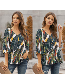 Leaf Print Button Up Top