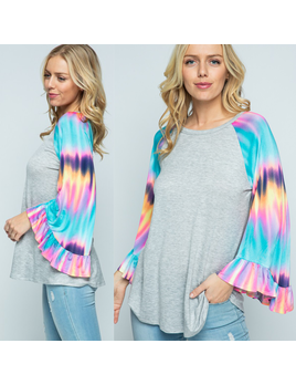 Knit Top with Tie Dye Bell Sleeves