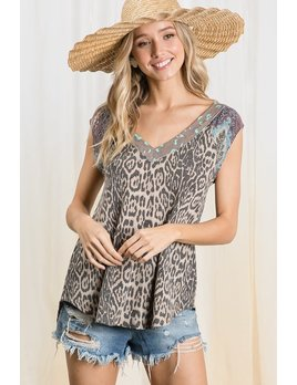Leopard Print Mixed Fabric cap Sleeve Top