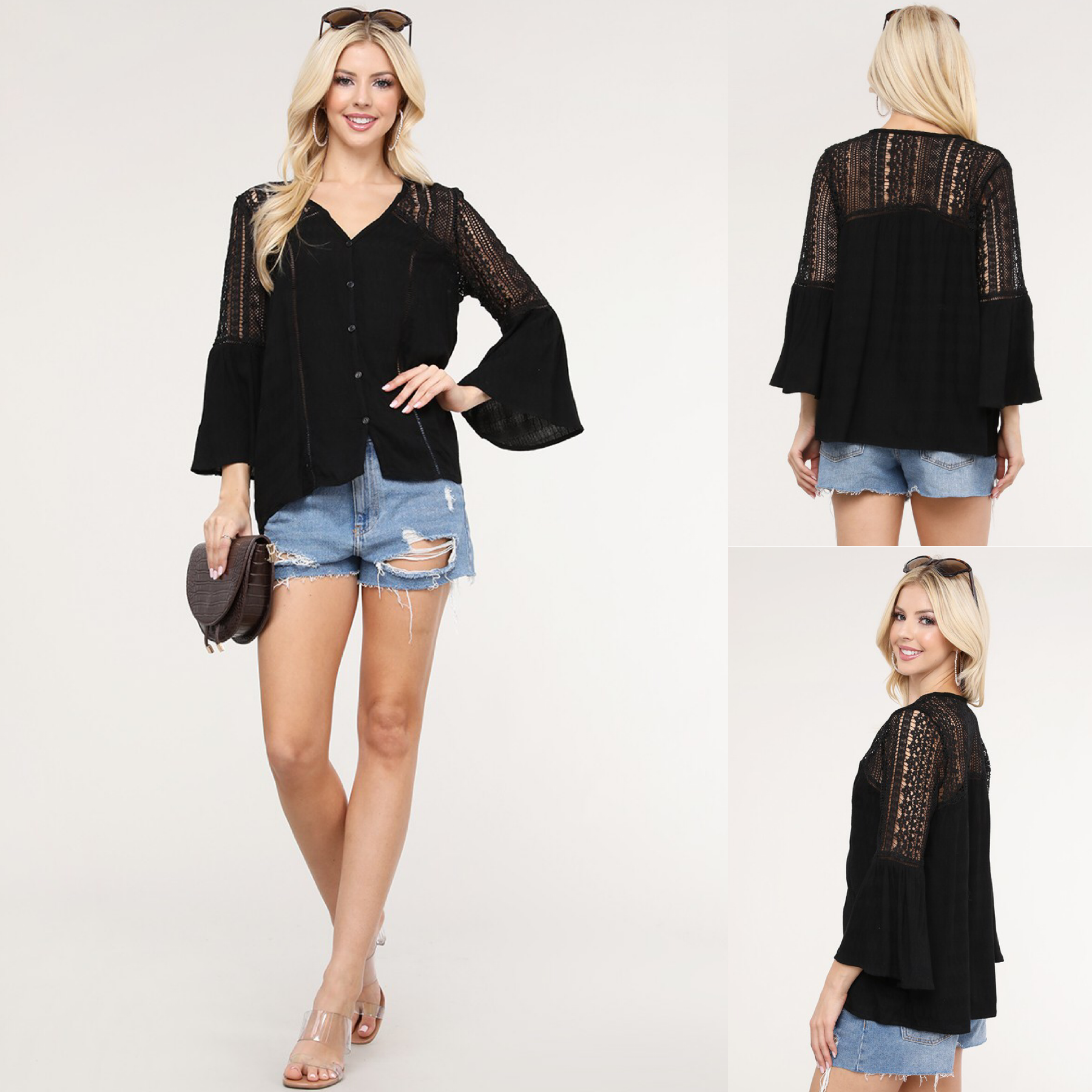 Crochet & Lace Trim Top