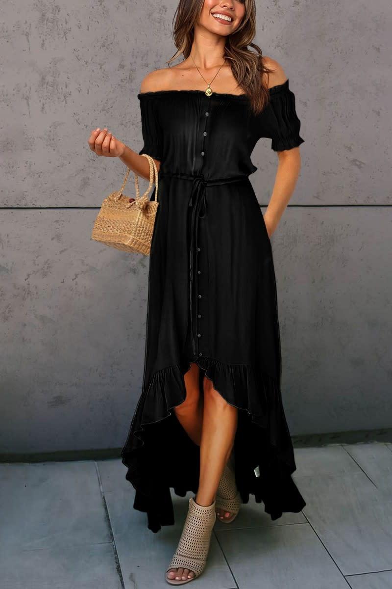 Off Shoulder Ruffle Hi-Lo Dress