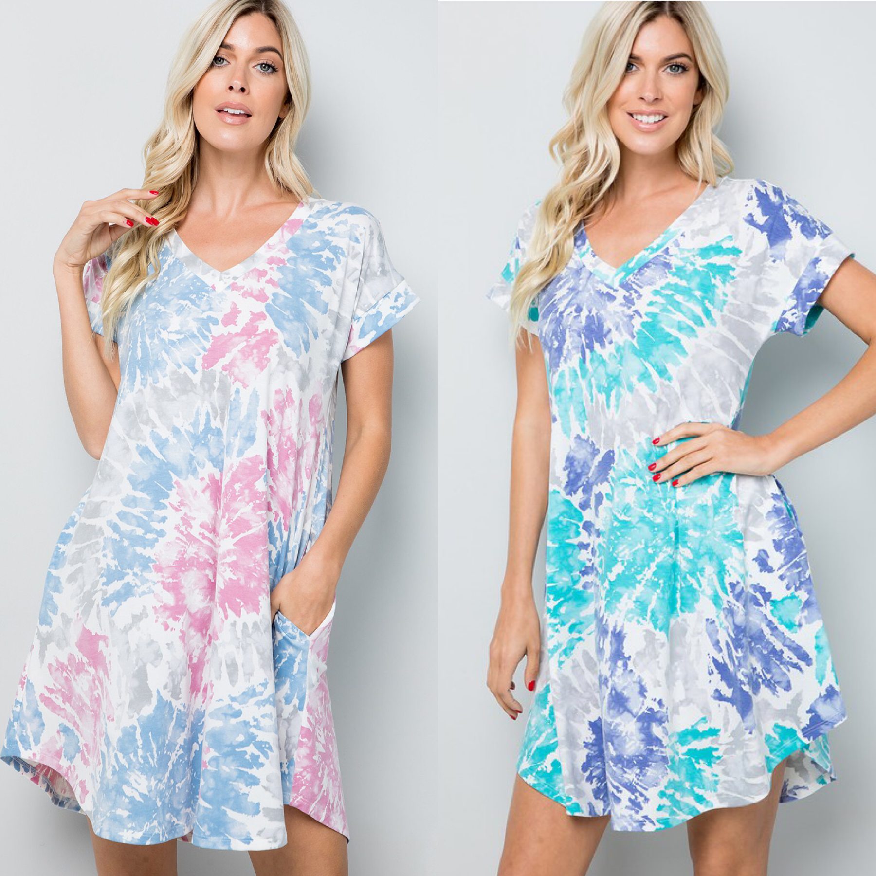 Tie Dye V Neck Pocket Detail Dress