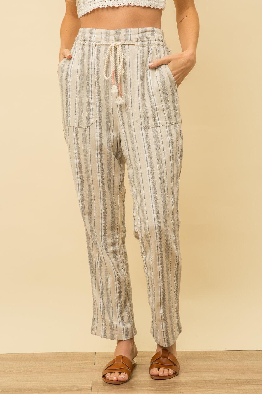 Stripe Linen Pants w/ Rope Belt