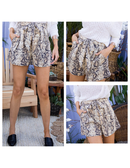 Snake Print High Waist Pocket Shorts