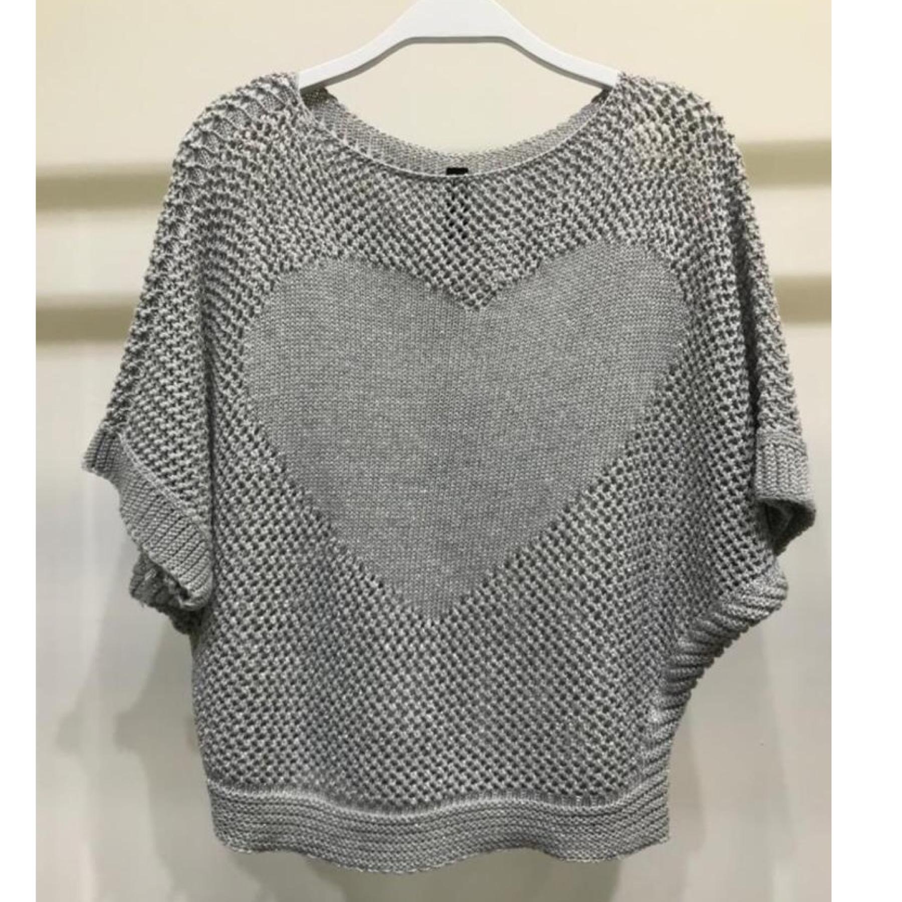 Crochet Knit Heart with Lurex Top