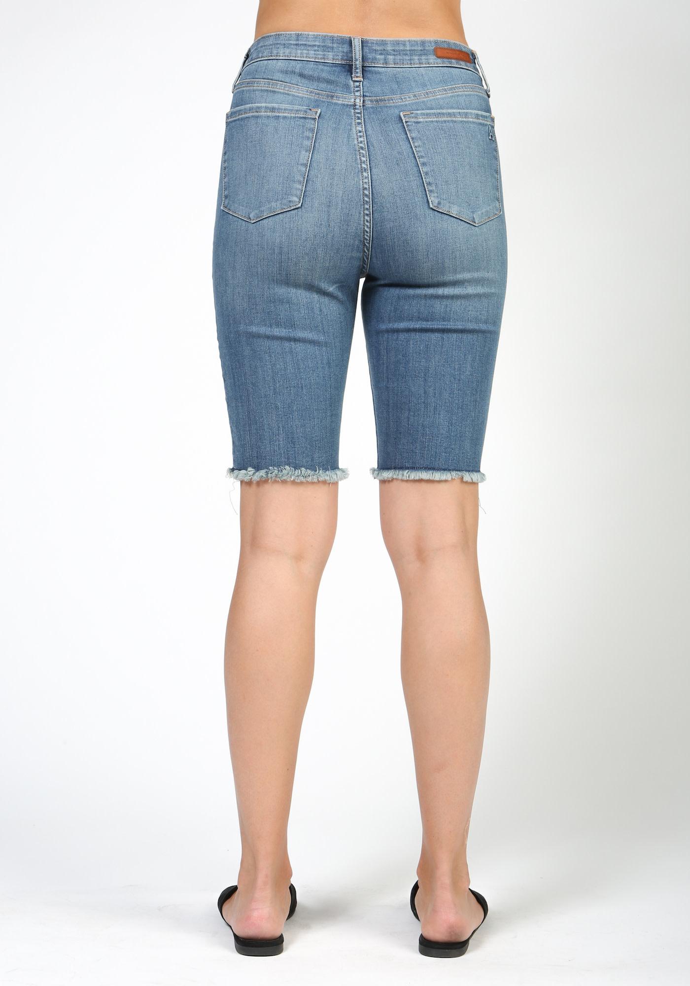 Distressed Hi-Rise Knee Shorts