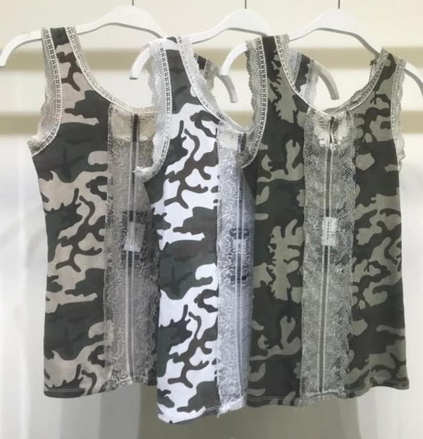 Camouflage Tank with Lace Detail