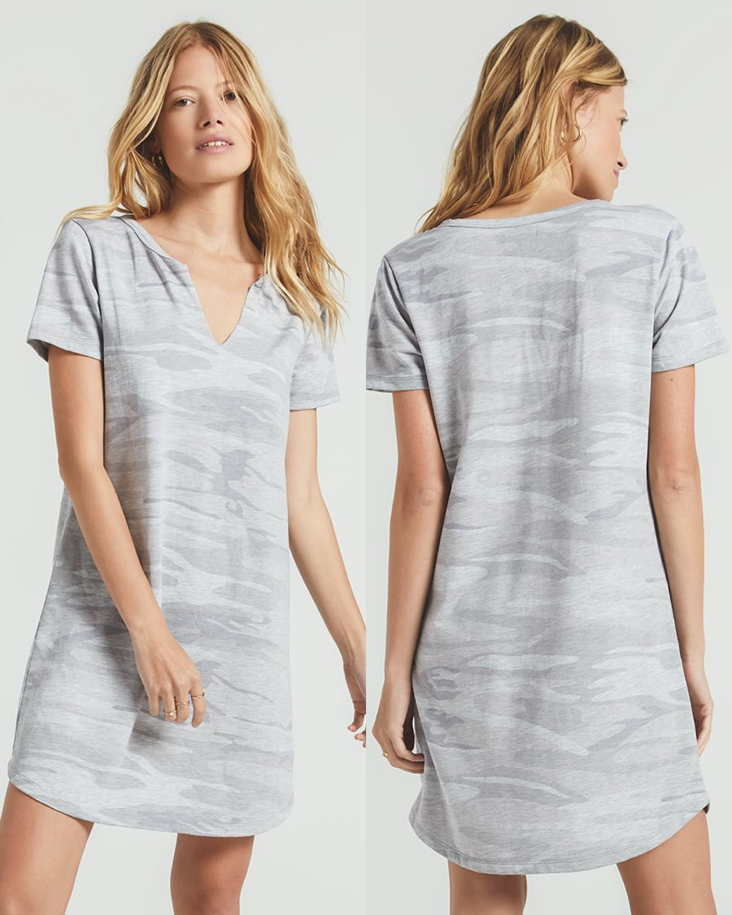 Camouflage Split Neck Dress