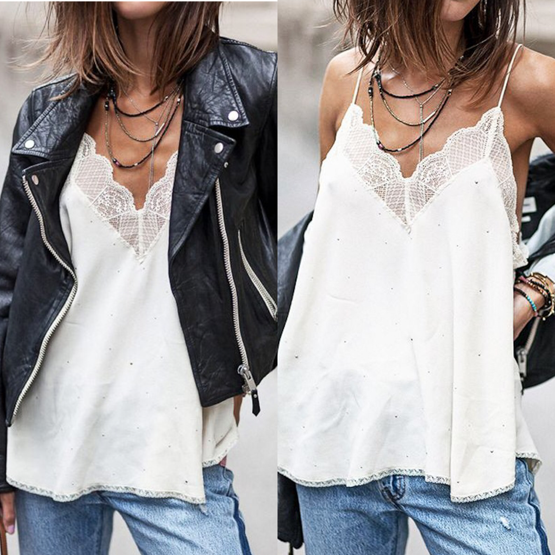 Stud Lace Detail Camisole