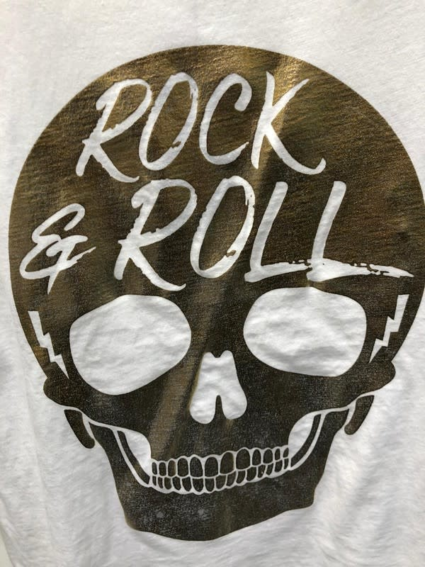 Distressed Rock and Roll Skull Tee Shirt