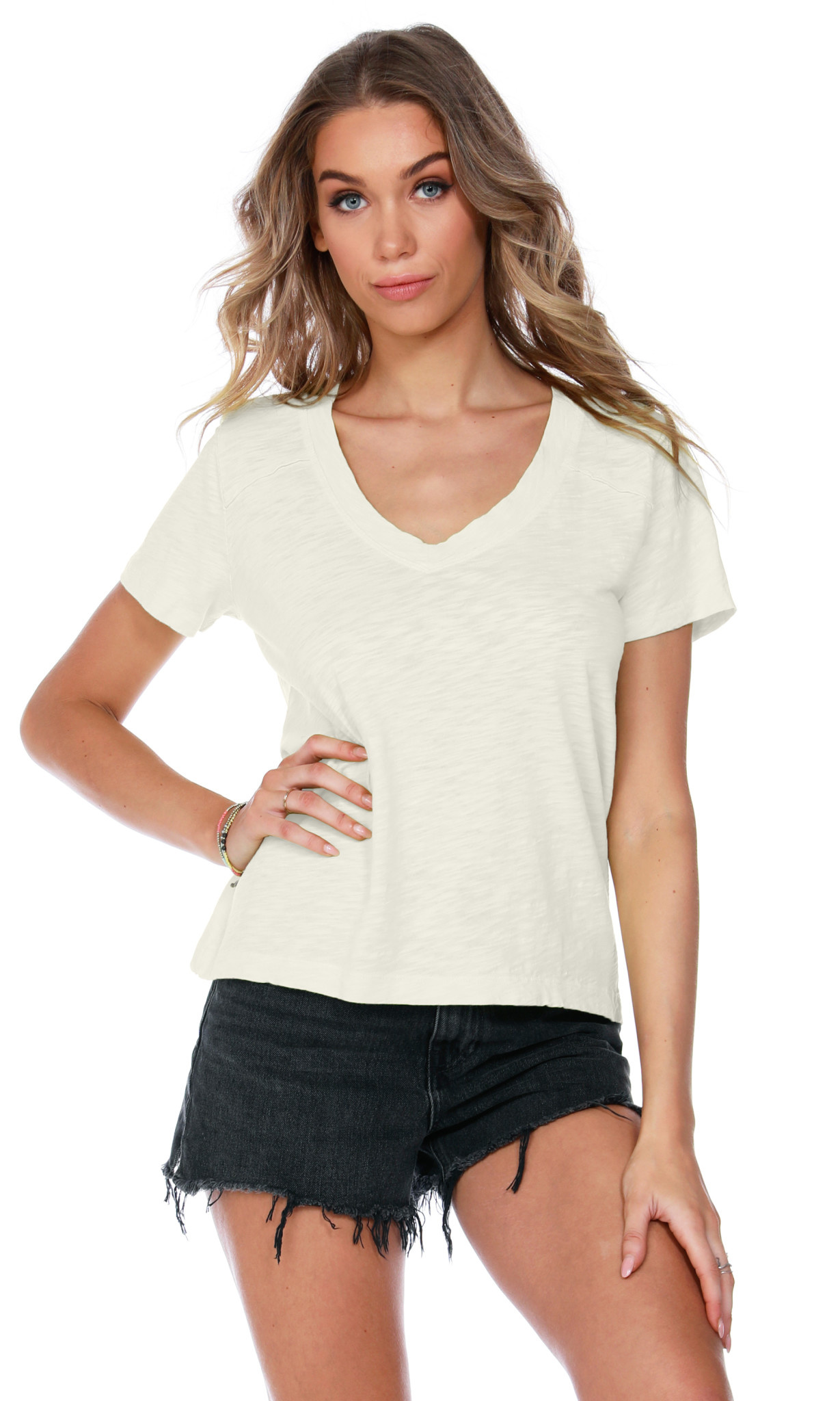 V Neck Boxy Tee Shirt