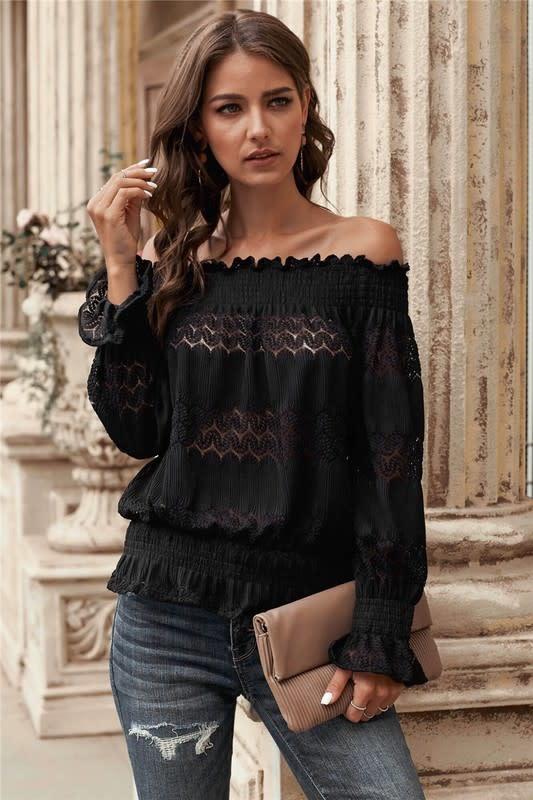 Off Shoulder Crochet Smocked Top