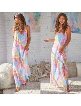 Tie Dye Leopard Maxi Dress