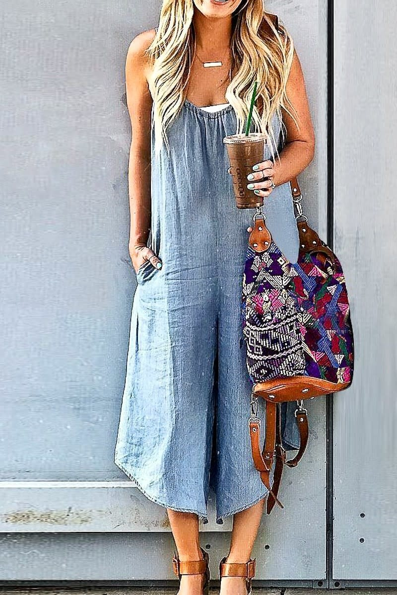 Loose Fit Denim Jumpsuit