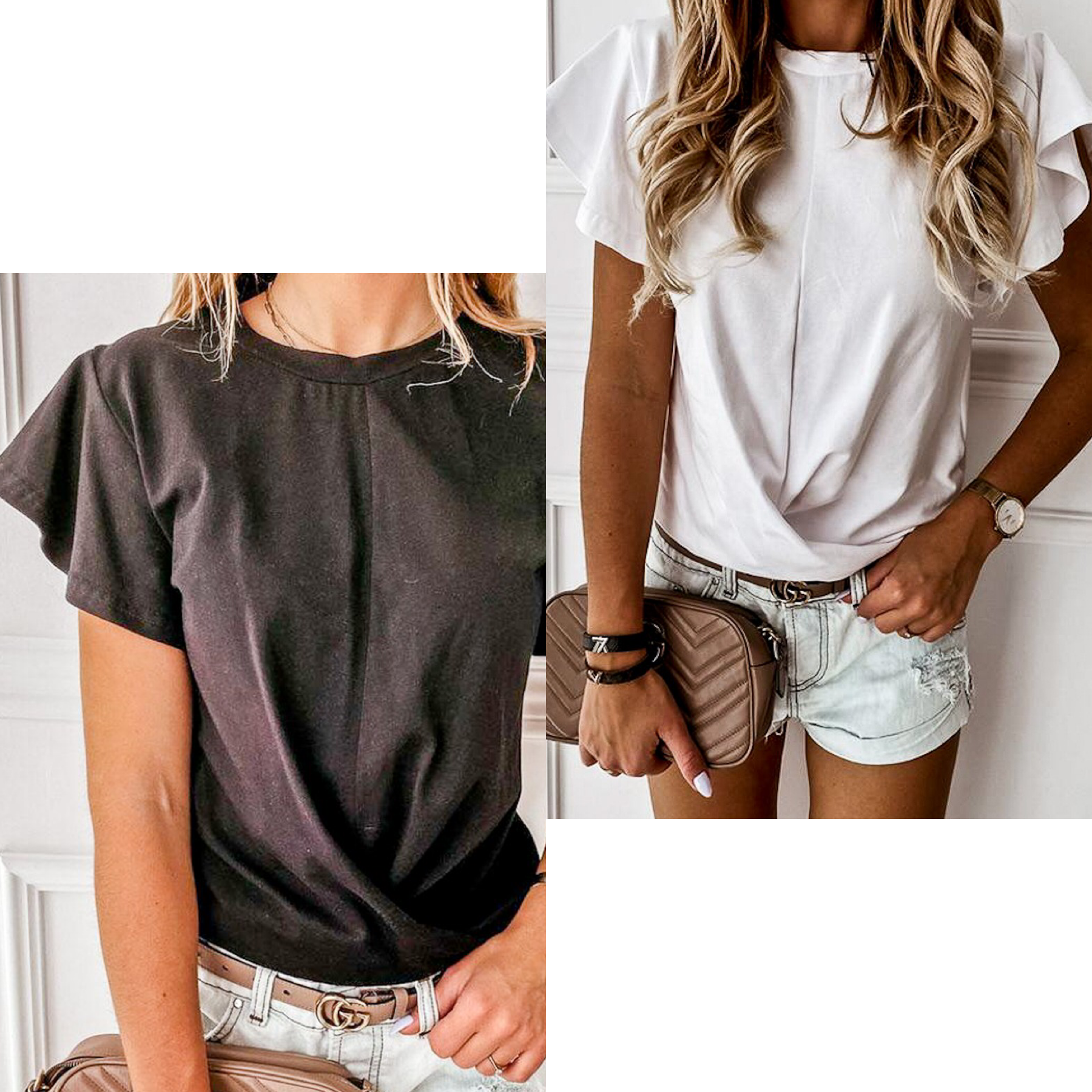 Front Knot Ruffle Sleeve Top
