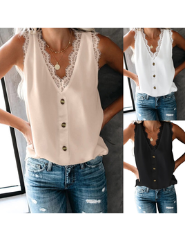 Lace Detail Button Tank