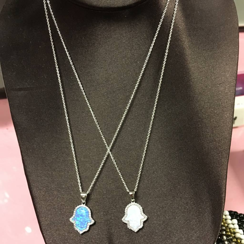 Opal CZ Hamsa Necklace