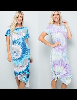 Tie Dye Side Slit Jersey Dress