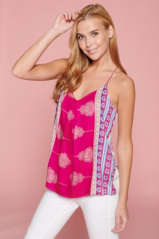 Boho Print Racer Back Tank Top