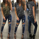 Camouflage Criss Cross Top