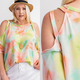 Tie Dye Cut Out Detail Top