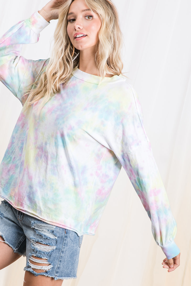Tie Dye Print Boxy Sweatshirt