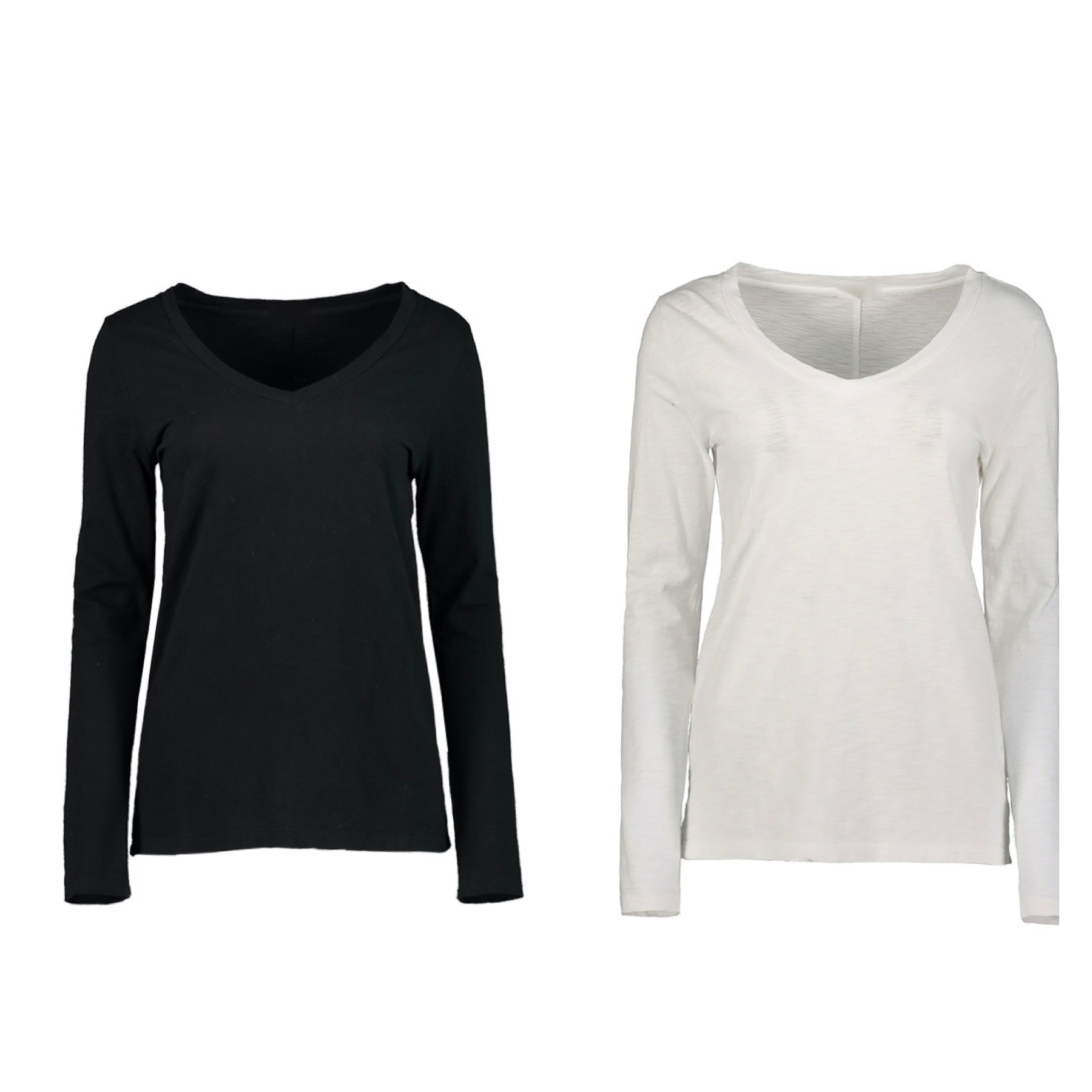 Solid Long Sleeve V Neck Tee