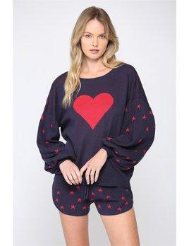 Heart/ Star Ballon Sleeve Sweater W Mask