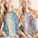 Snake Print Knit Halter Top