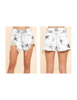 Star Distressed Denim Shorts