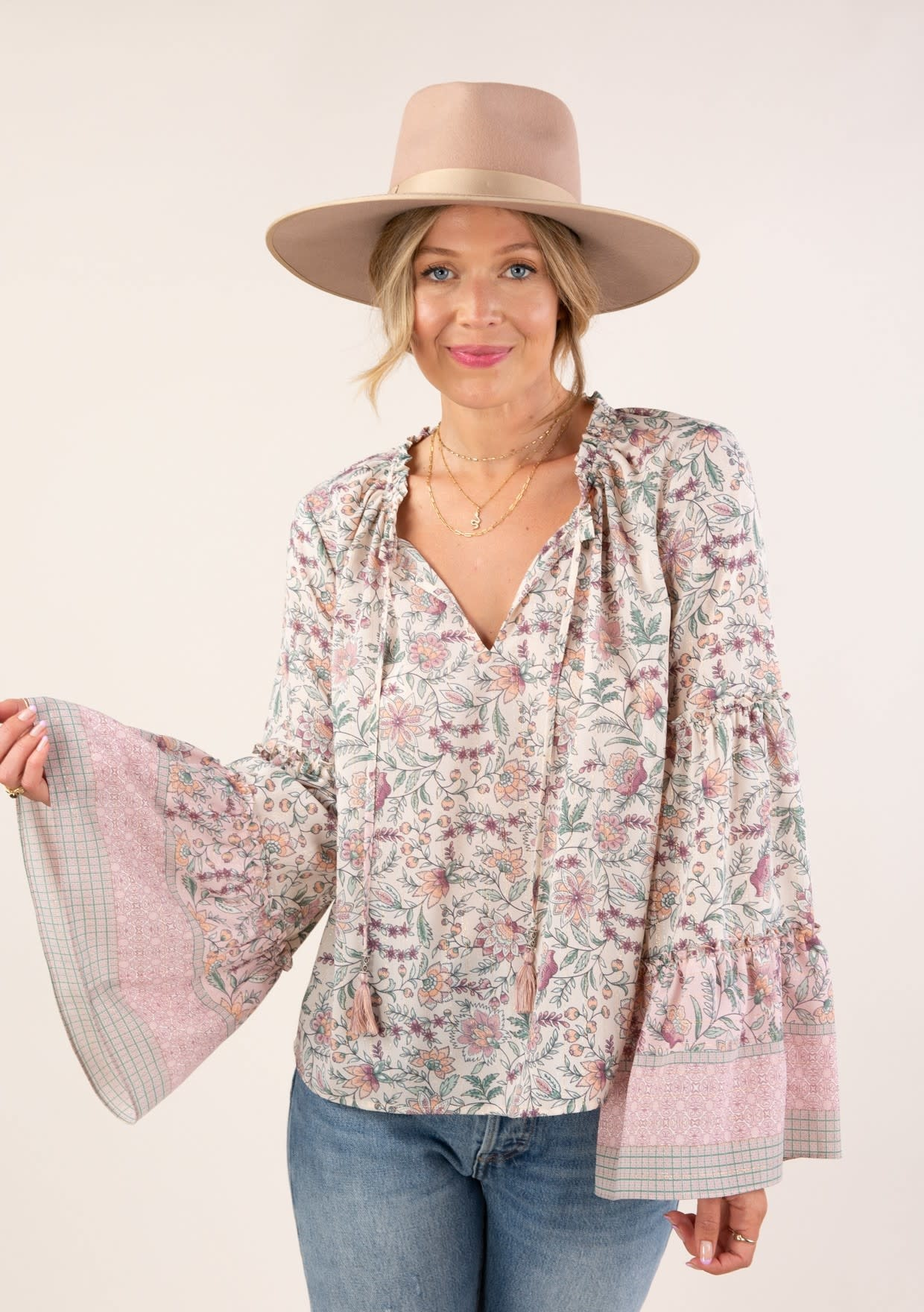 Floral Bell Sleeve Peasant Top