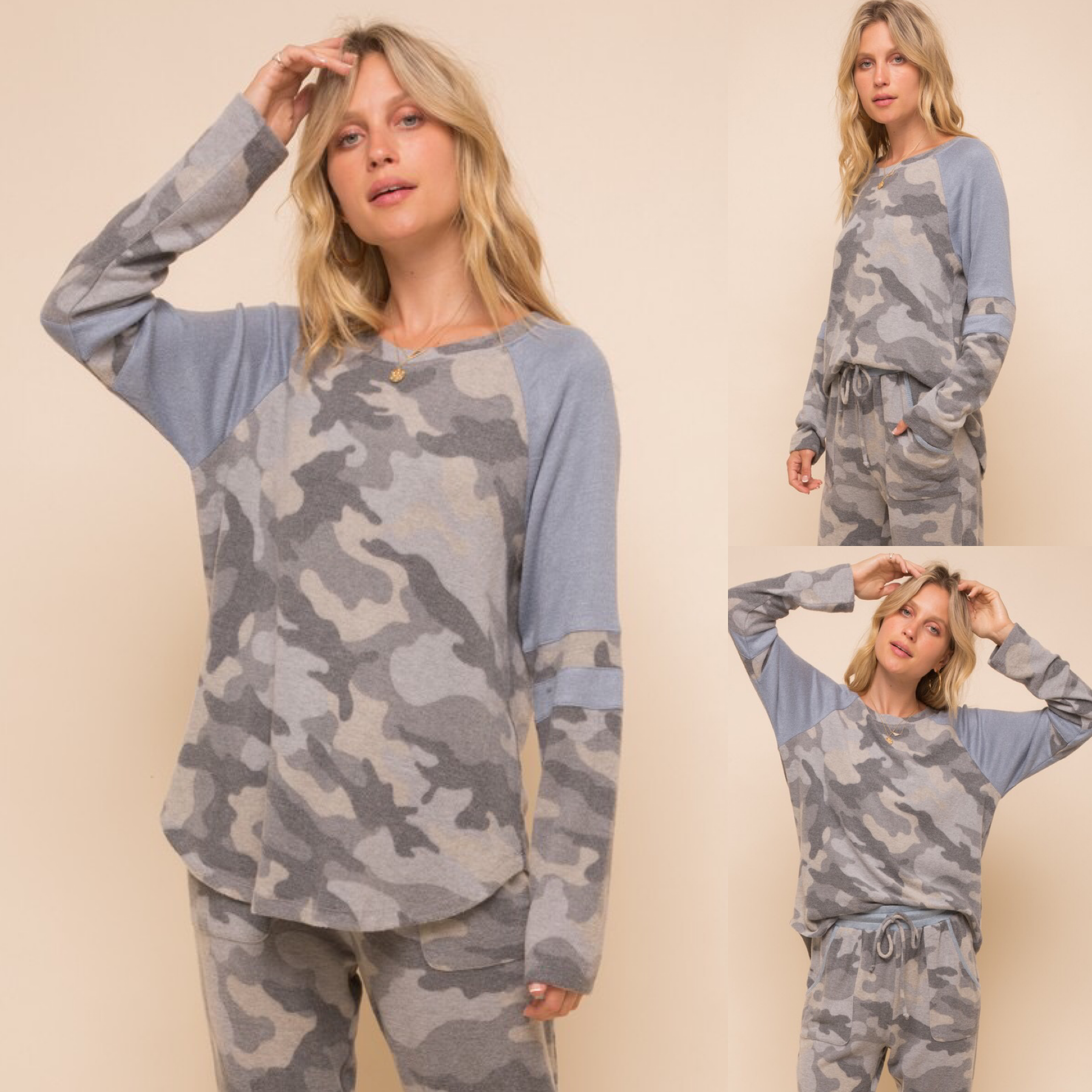 Camouflage Color Block Top