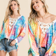 Lace Up Tie Dye Top