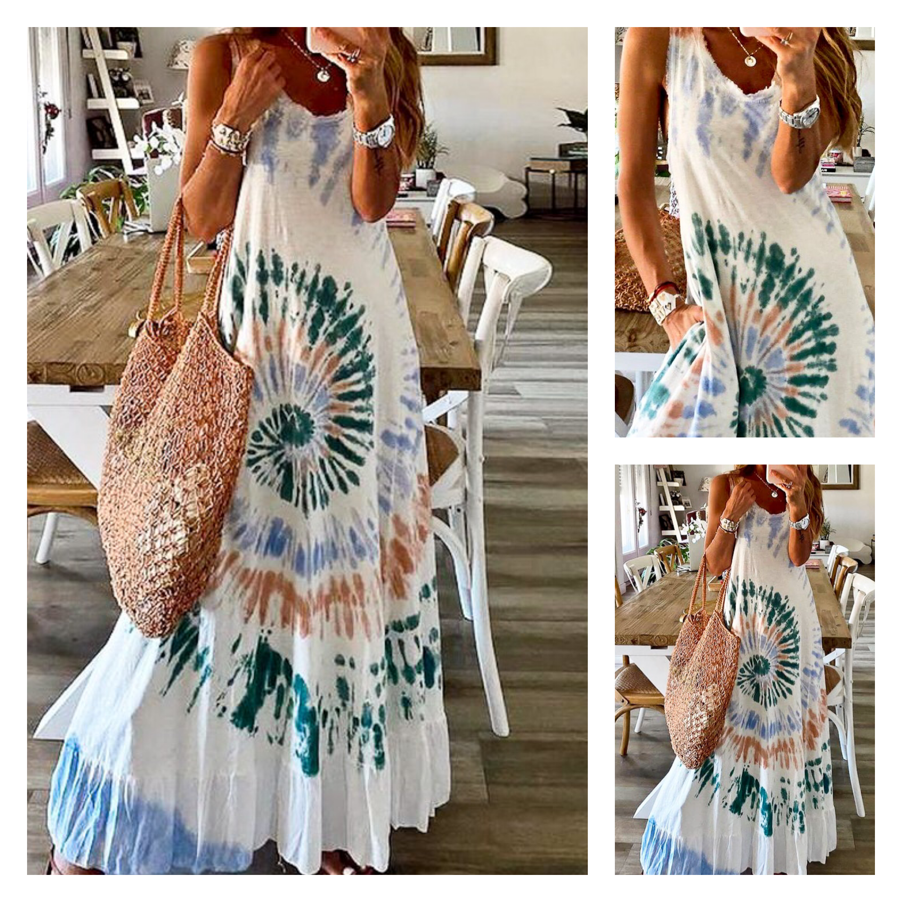Distressed Tie Dye Maxi Dress
