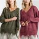 Frayed Hem V Neck Sweater