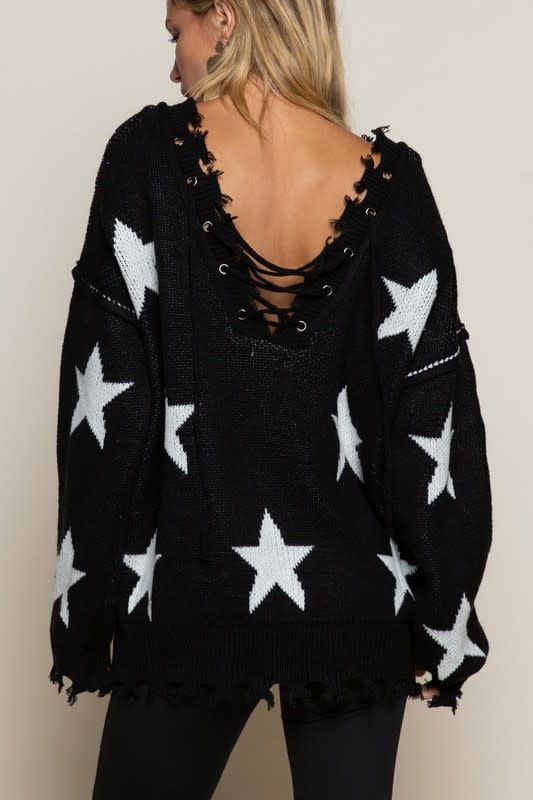 Lace Up Distressed Star Sweater
