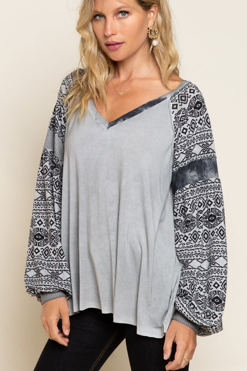 Aztec Print Sleeve Top